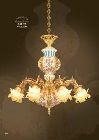 Mẫu sản phẩm đèn chùm đồng mạ vàng iran 3417