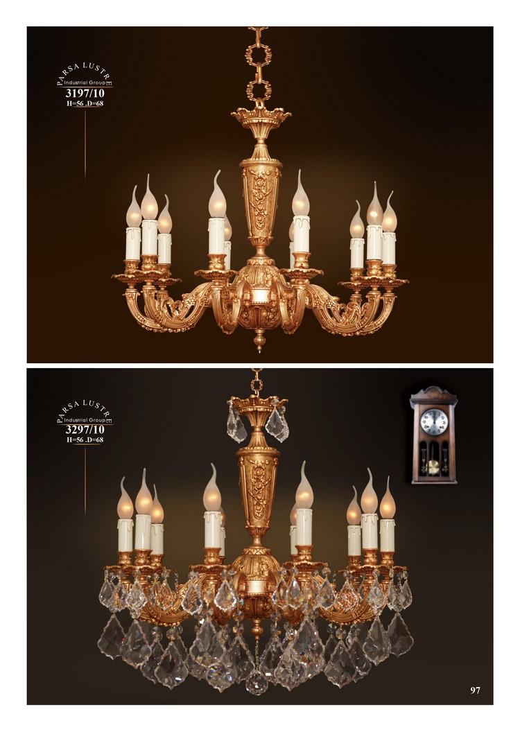 Mẫu sản phẩm đèn chùm đồng mạ vàng iran 36