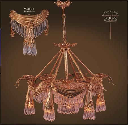 Chùm đồng mạ vàng Parsa Lustre 3101/9 – Tường W3101